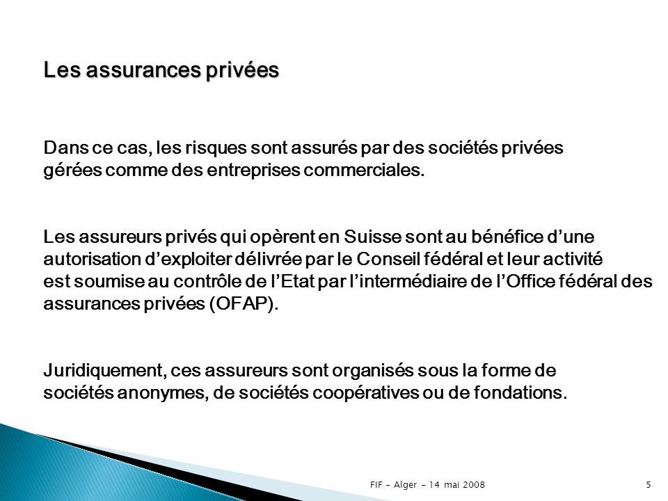 FIF - Alger - 14 mai 20084 Les assurances publiques La couverture de certains risques est dune importance telle quelle est prise en charge par lEtat.