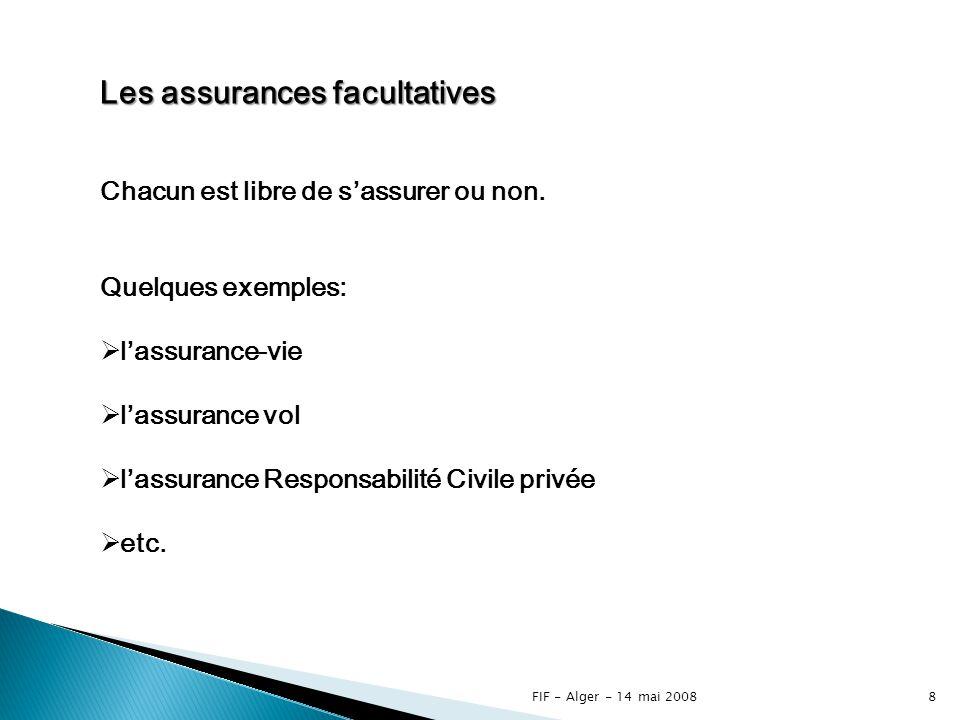 FIF - Alger - 14 mai 20087 Les assurances semi-obligatoires Toutes les personnes soumises à un risque ne sont pas contraintes de sassurer par la loi.
