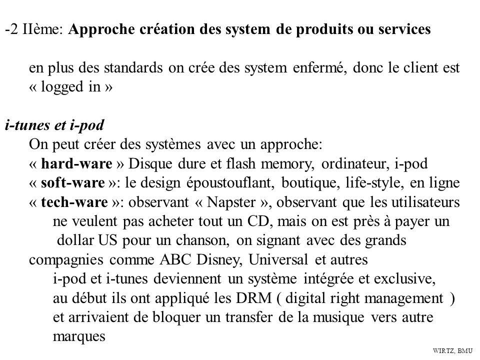 WIRTZ, BMU -2 IIème: Approche création des system de produits ou services en plus des standards on crée des system enfermé, donc le client est « logge