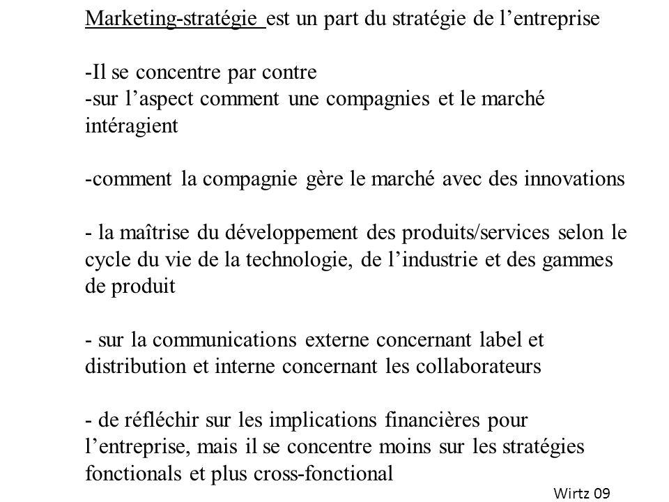 Wirtz 09 Marketing-stratégie est un part du stratégie de lentreprise -Il se concentre par contre -sur laspect comment une compagnies et le marché inté