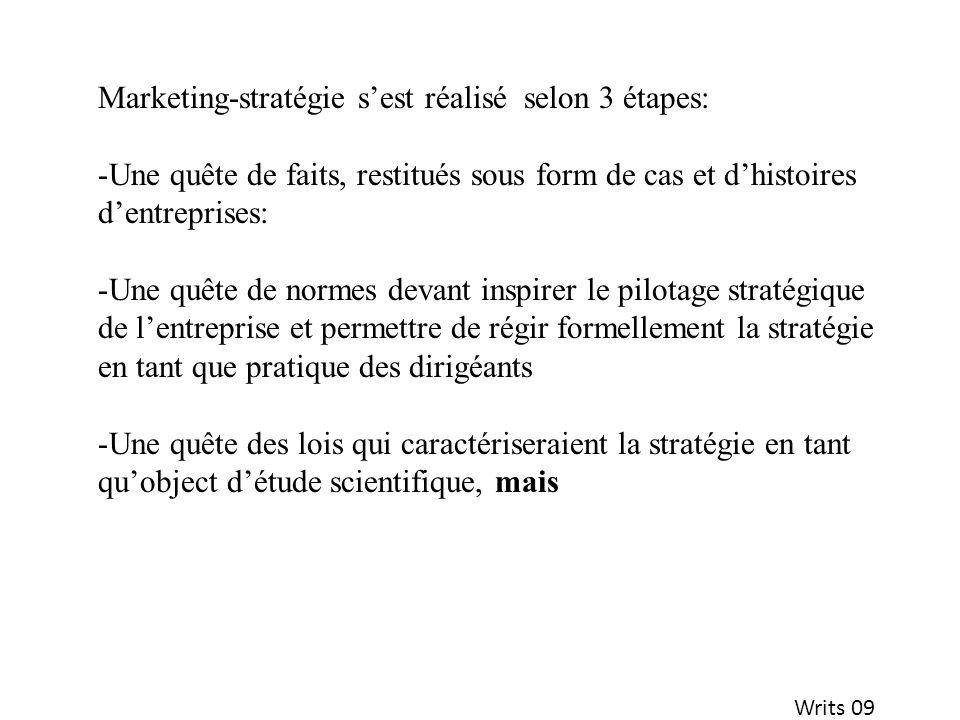 Writs 09 Marketing-stratégie sest réalisé selon 3 étapes: -Une quête de faits, restitués sous form de cas et dhistoires dentreprises: -Une quête de no