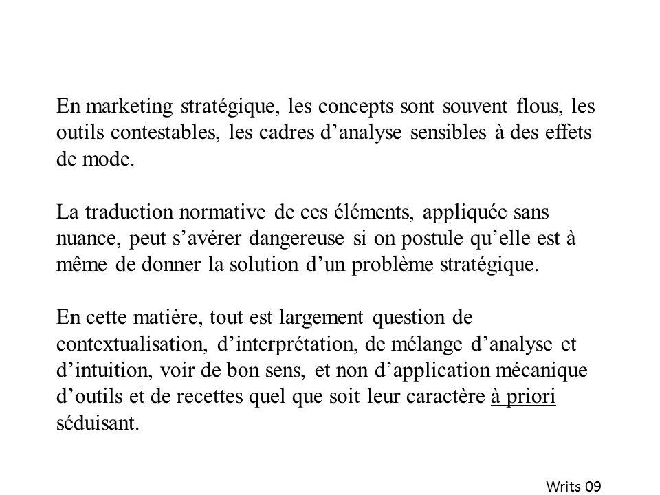 Writs 09 En marketing stratégique, les concepts sont souvent flous, les outils contestables, les cadres danalyse sensibles à des effets de mode. La tr