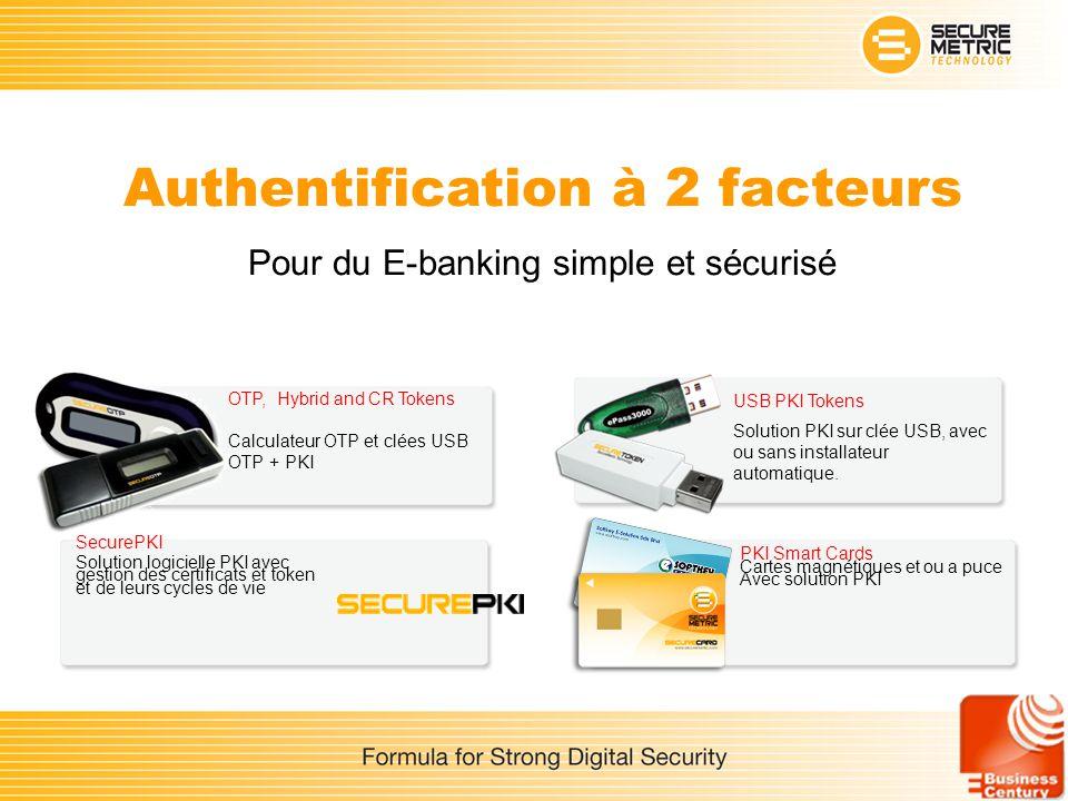 Authentification à 2 facteurs Pour du E-banking simple et sécurisé USB PKI Tokens Solution PKI sur clée USB, avec ou sans installateur automatique. OT