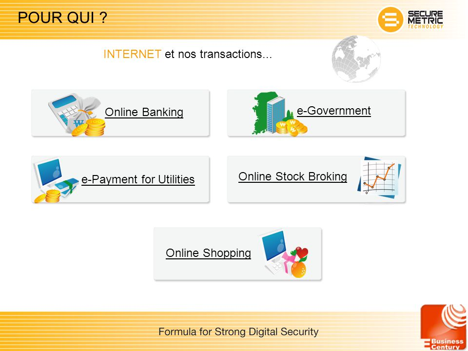POUR QUI ? Online Stock Broking Online Banking e-Payment for Utilities Online Shopping e-Government INTERNET et nos transactions...