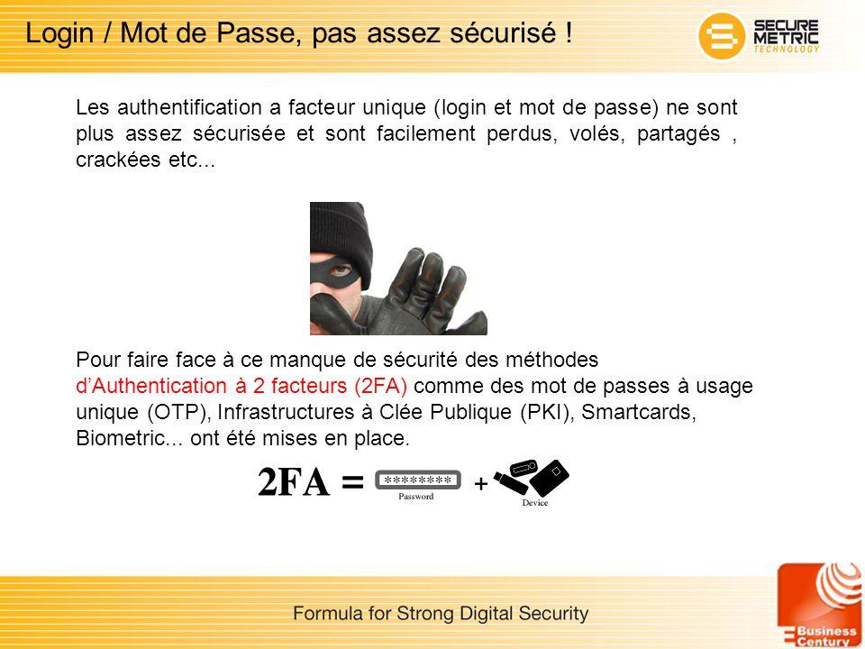 Les authentification a facteur unique (login et mot de passe) ne sont plus assez sécurisée et sont facilement perdus, volés, partagés, crackées etc...