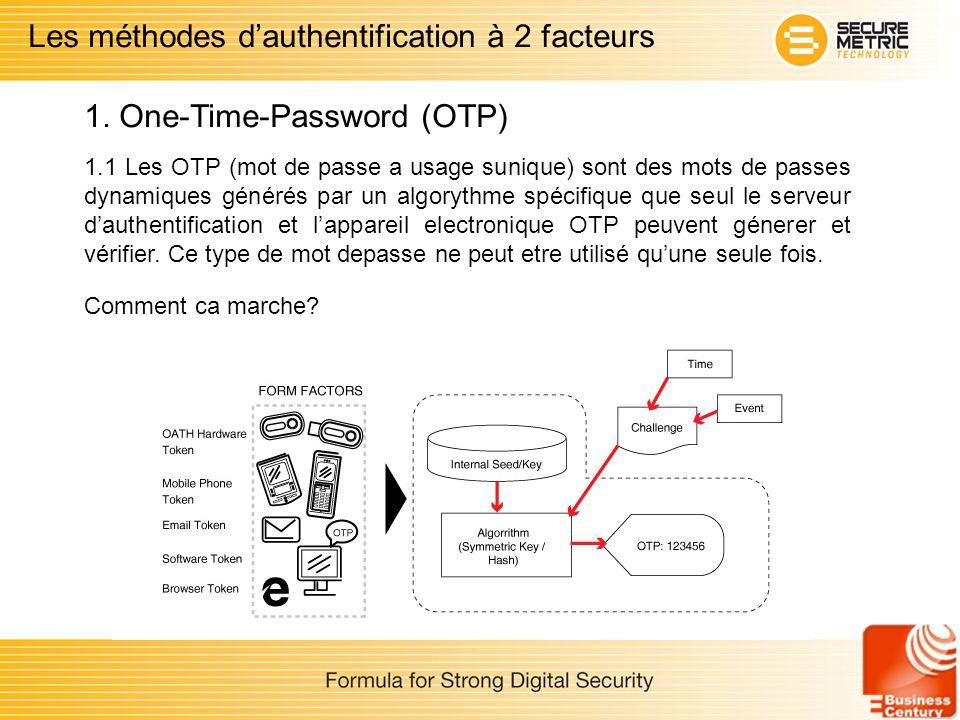 1.1 Les OTP (mot de passe a usage sunique) sont des mots de passes dynamiques générés par un algorythme spécifique que seul le serveur dauthentificati