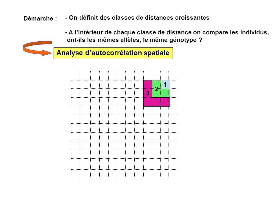 3 2 - On définit des classes de distances croissantes - A lintérieur de chaque classe de distance on compare les individus, ont-ils les mêmes allèles,