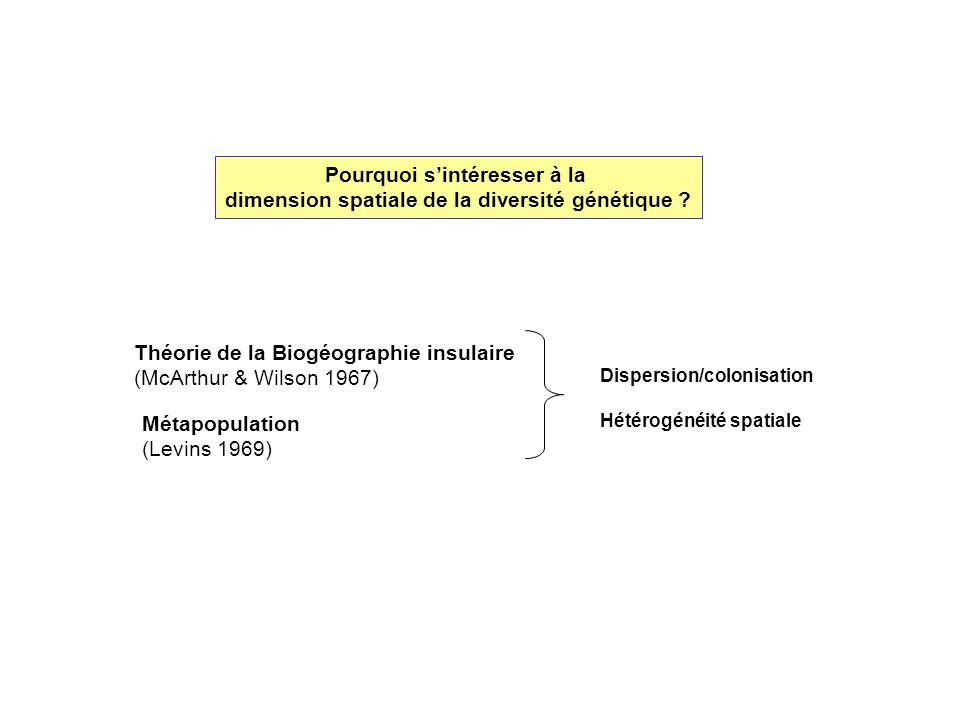 Pourquoi sintéresser à la dimension spatiale de la diversité génétique ? Théorie de la Biogéographie insulaire (McArthur & Wilson 1967) Métapopulation