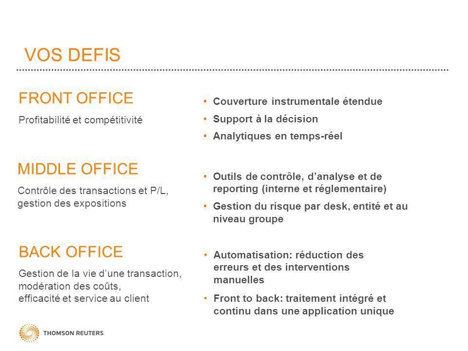 VOS DEFIS FRONT OFFICE Profitabilité et compétitivité Automatisation: réduction des erreurs et des interventions manuelles Front to back: traitement i