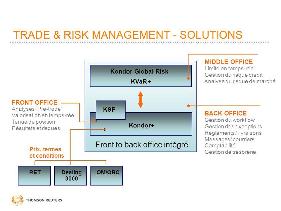 TRADE & RISK MANAGEMENT - SOLUTIONS MIDDLE OFFICE Limite en temps-réel Gestion du risque crédit Analyse du risque de marché BACK OFFICE Gestion du wor