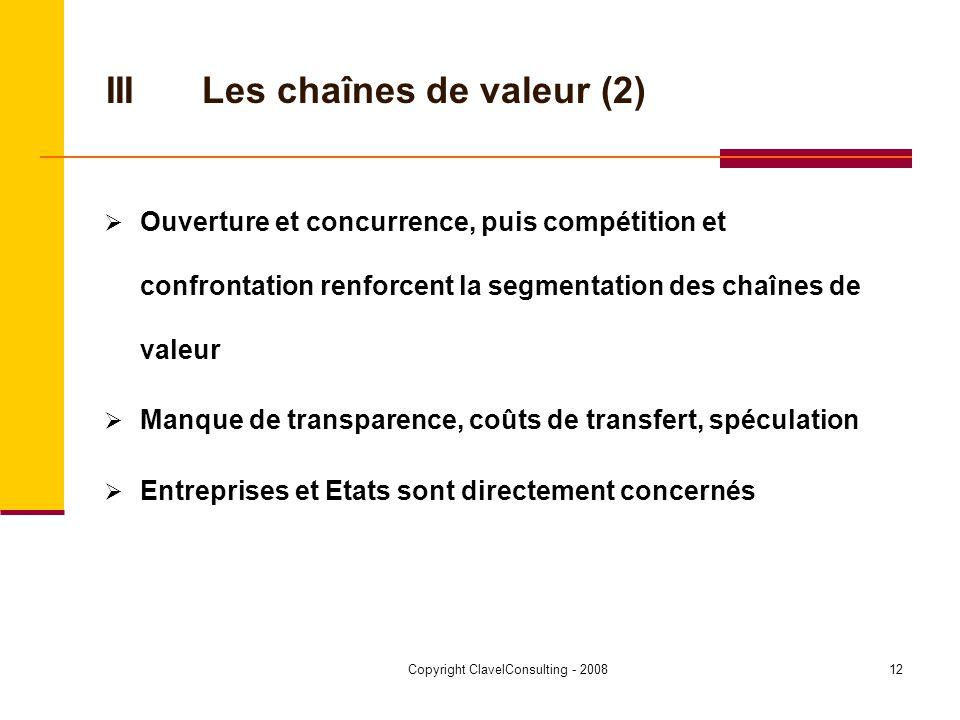 Copyright ClavelConsulting - 200812 IIILes chaînes de valeur (2) Ouverture et concurrence, puis compétition et confrontation renforcent la segmentation des chaînes de valeur Manque de transparence, coûts de transfert, spéculation Entreprises et Etats sont directement concernés