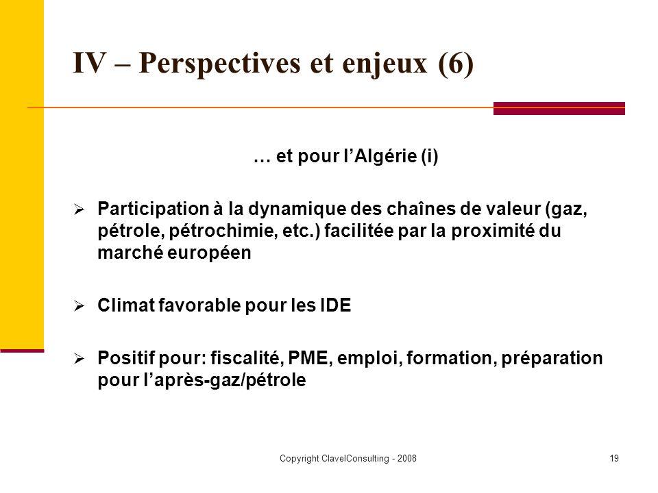 Copyright ClavelConsulting - 200819 IV – Perspectives et enjeux (6) … et pour lAlgérie (i) Participation à la dynamique des chaînes de valeur (gaz, pétrole, pétrochimie, etc.) facilitée par la proximité du marché européen Climat favorable pour les IDE Positif pour: fiscalité, PME, emploi, formation, préparation pour laprès-gaz/pétrole
