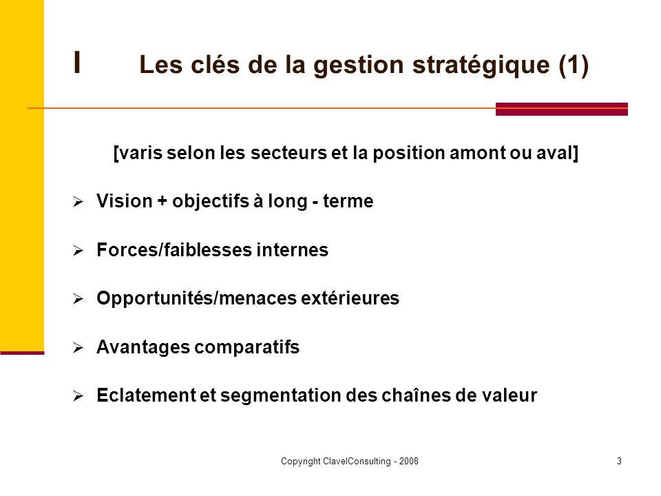 Copyright ClavelConsulting - 20084 ILes clés de la gestion stratégique (2) Exemples IKEA Dell Easyjet Toyota (TPS) Lindt Nestlé