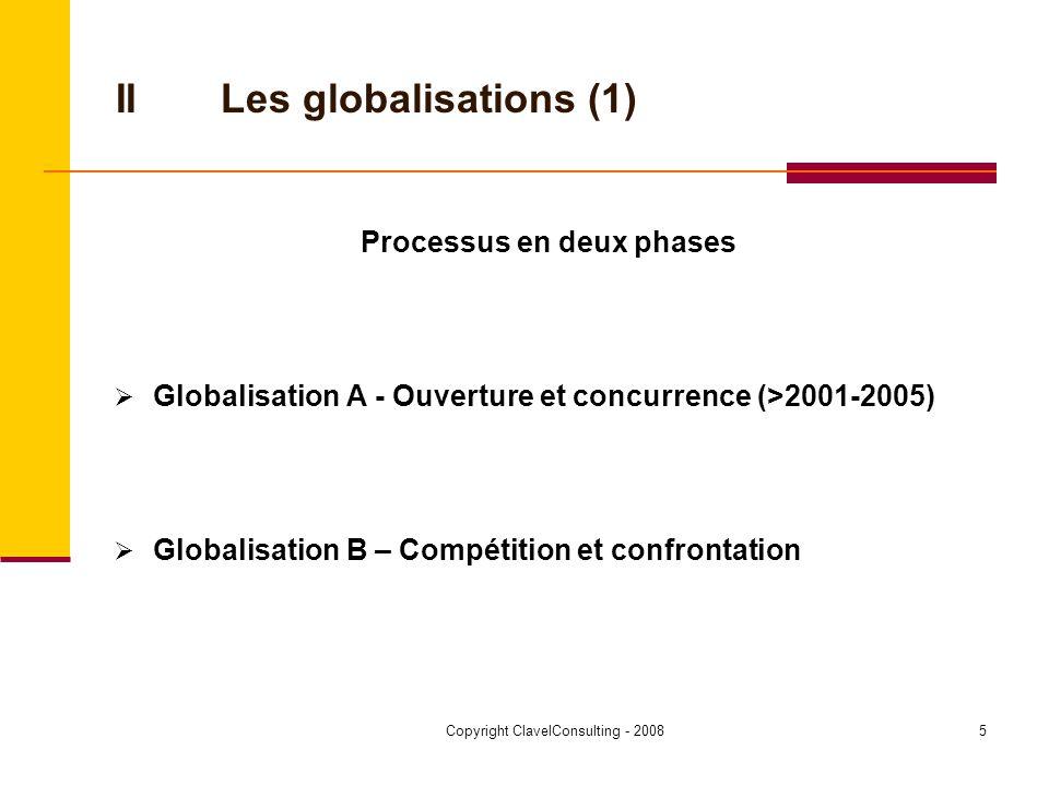 Copyright ClavelConsulting - 20086 IILa globalisation A (2) Facteurs Composante High Tech Customerization Informatique Globalisation des marchés financiers Déréglementation et libéralisation du commerce Réseaux et alliances >>> nouveaux marchés