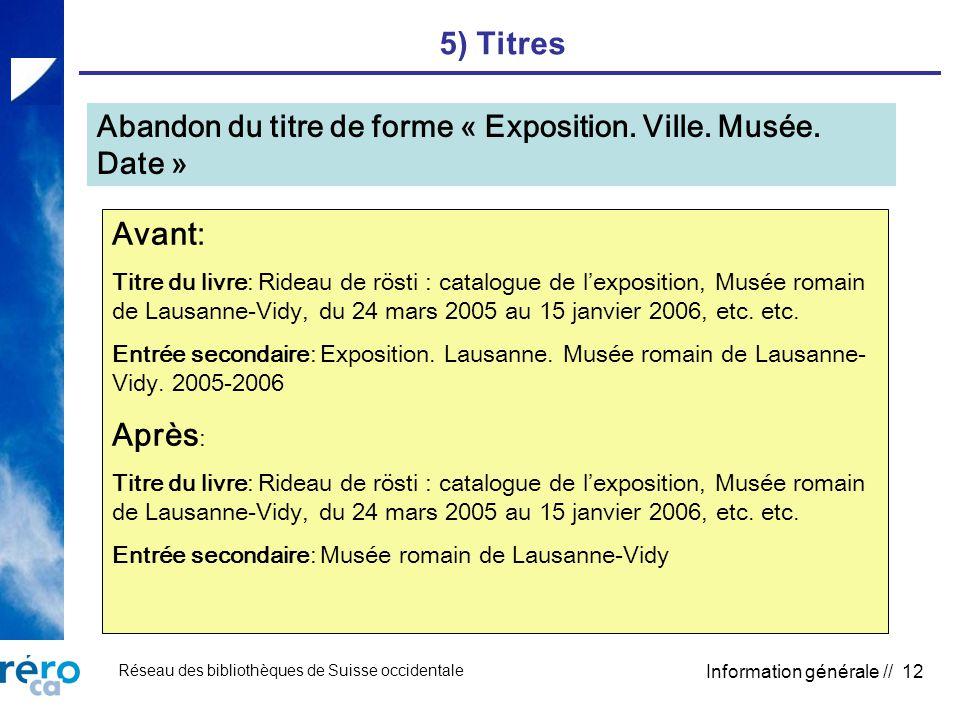 Réseau des bibliothèques de Suisse occidentale Information générale // 12 5) Titres Abandon du titre de forme « Exposition. Ville. Musée. Date » Avant