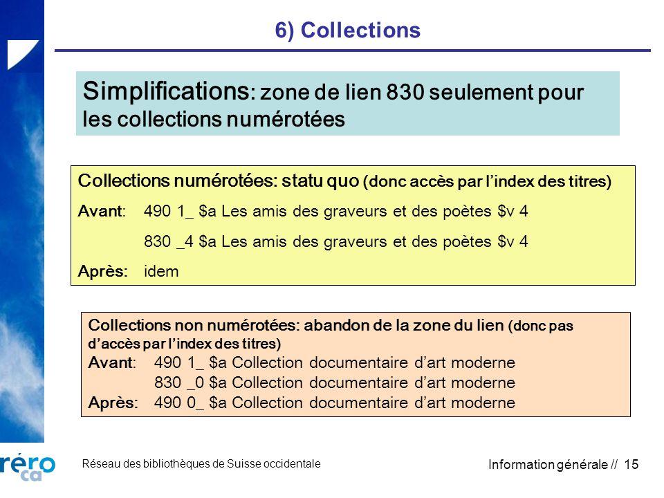 Réseau des bibliothèques de Suisse occidentale Information générale // 15 6) Collections Simplifications : zone de lien 830 seulement pour les collect