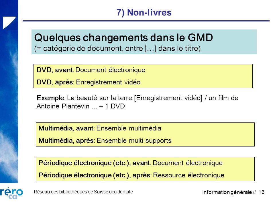 Réseau des bibliothèques de Suisse occidentale Information générale // 16 7) Non-livres Quelques changements dans le GMD (= catégorie de document, ent