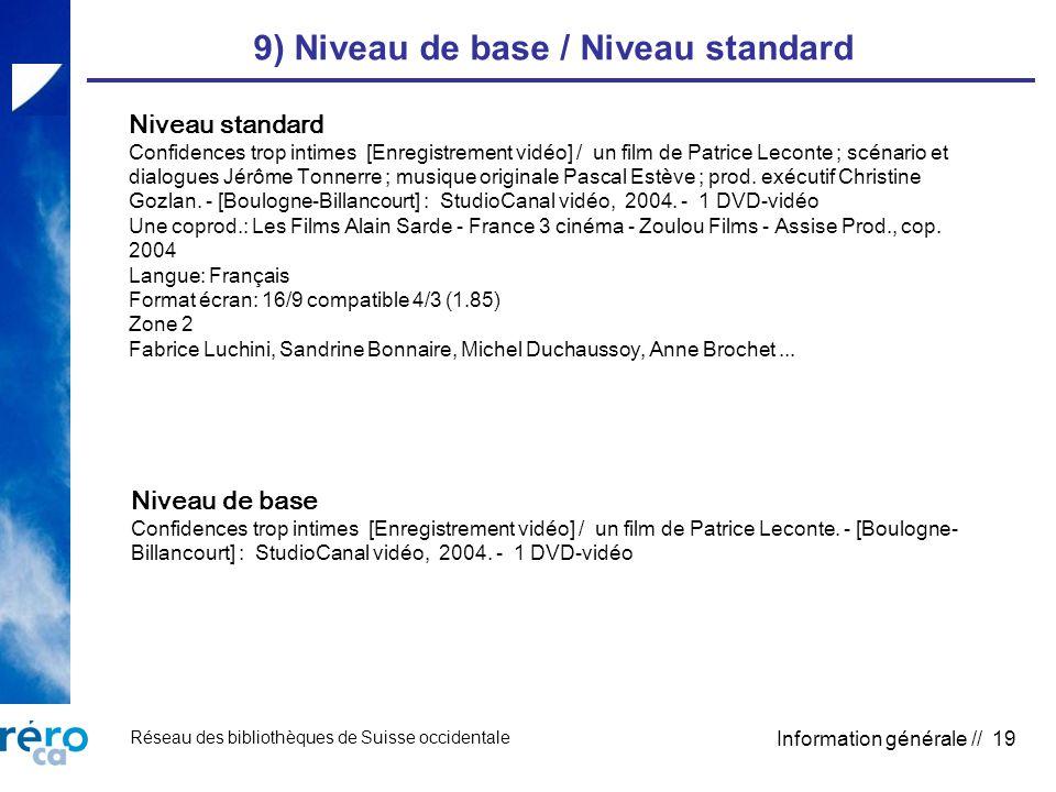 Réseau des bibliothèques de Suisse occidentale Information générale // 19 9) Niveau de base / Niveau standard Niveau standard Confidences trop intimes