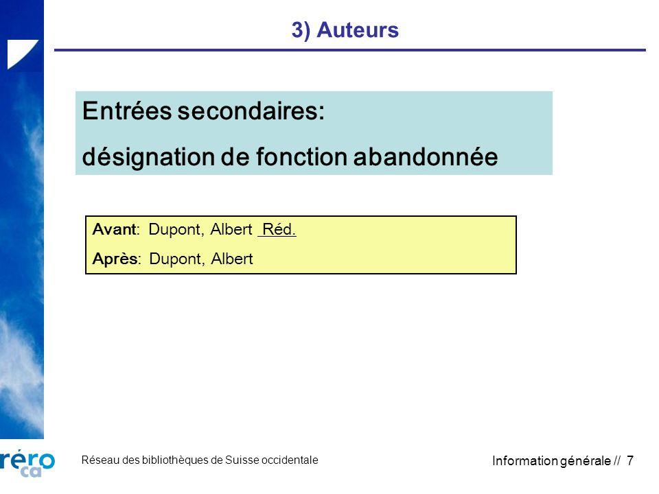 Réseau des bibliothèques de Suisse occidentale Information générale // 7 3) Auteurs Entrées secondaires: désignation de fonction abandonnée Avant: Dupont, Albert Réd.