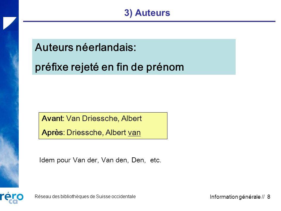 Réseau des bibliothèques de Suisse occidentale Information générale // 8 3) Auteurs Auteurs néerlandais: préfixe rejeté en fin de prénom Avant: Van Dr