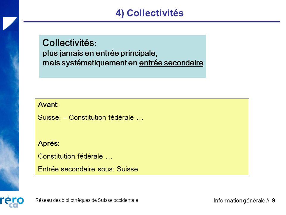 Réseau des bibliothèques de Suisse occidentale Information générale // 9 4) Collectivités Collectivités : plus jamais en entrée principale, mais systématiquement en entrée secondaire Avant: Suisse.