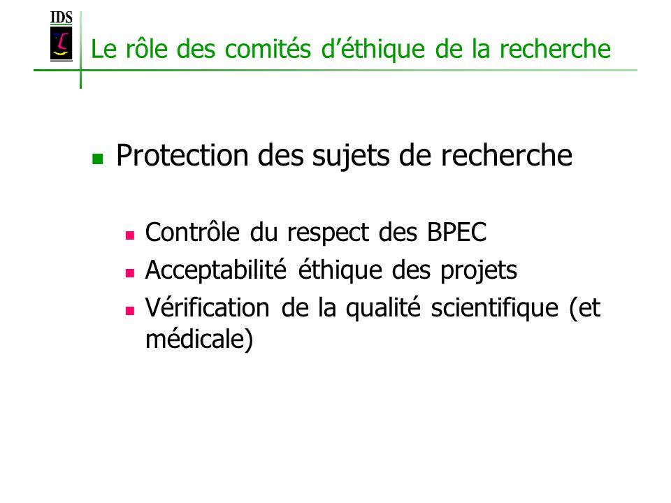 Le rôle des comités déthique de la recherche Protection des sujets de recherche Contrôle du respect des BPEC Acceptabilité éthique des projets Vérification de la qualité scientifique (et médicale)