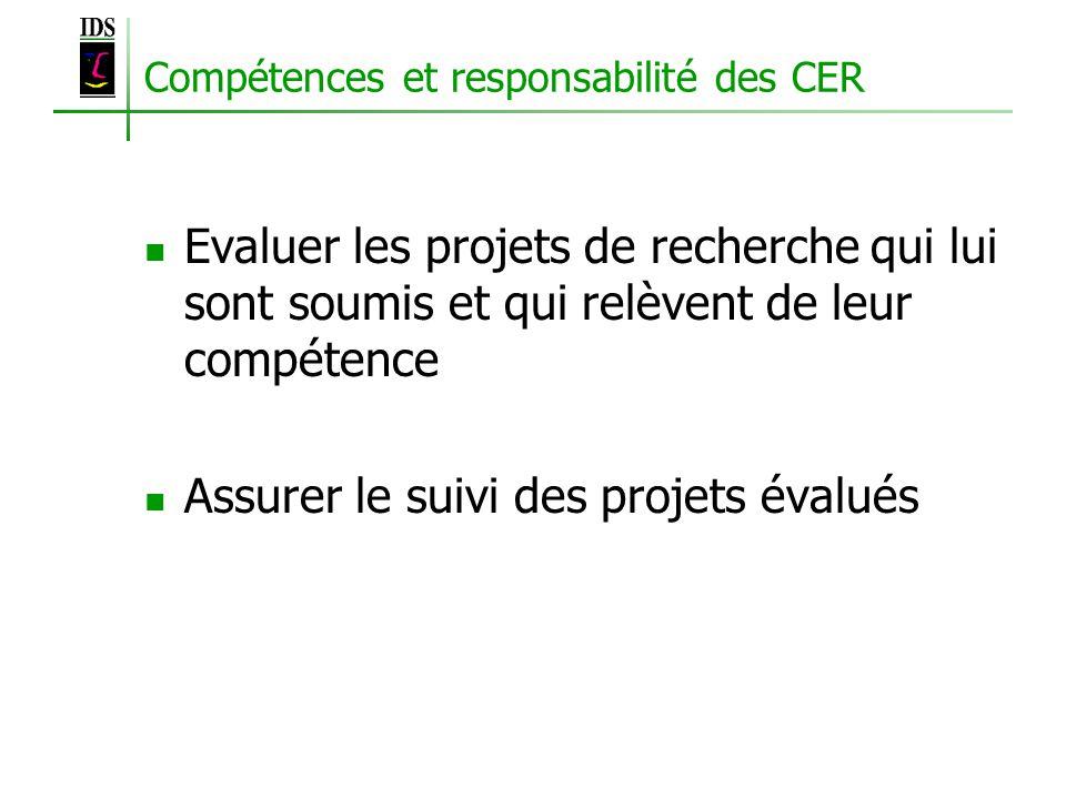 Compétences et responsabilité des CER Evaluer les projets de recherche qui lui sont soumis et qui relèvent de leur compétence Assurer le suivi des projets évalués