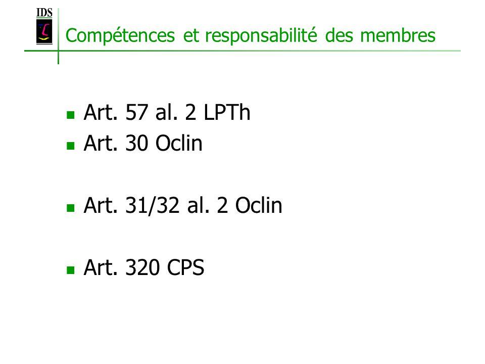 Compétences et responsabilité des membres Art. 57 al.
