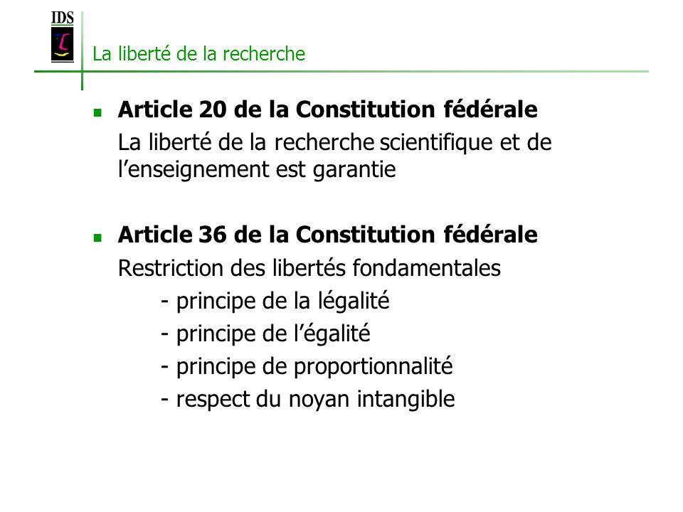 La liberté de la recherche Article 20 de la Constitution fédérale La liberté de la recherche scientifique et de lenseignement est garantie Article 36 de la Constitution fédérale Restriction des libertés fondamentales - principe de la légalité - principe de légalité - principe de proportionnalité - respect du noyan intangible