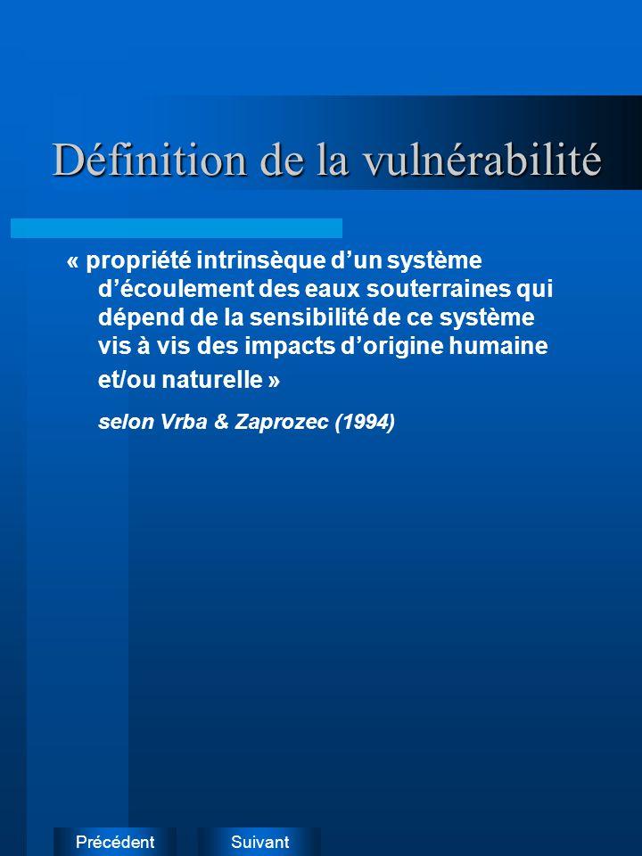 SuivantPrécédent Définition de la vulnérabilité « propriété intrinsèque dun système découlement des eaux souterraines qui dépend de la sensibilité de ce système vis à vis des impacts dorigine humaine et/ou naturelle » selon Vrba & Zaprozec (1994)