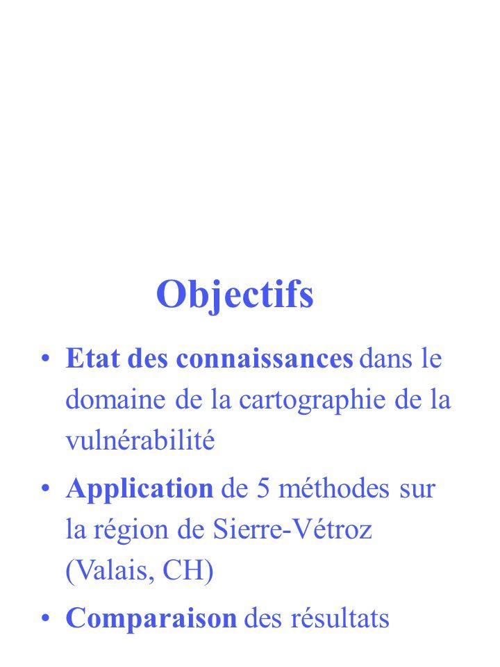 Objectifs Etat des connaissances dans le domaine de la cartographie de la vulnérabilité Application de 5 méthodes sur la région de Sierre-Vétroz (Vala