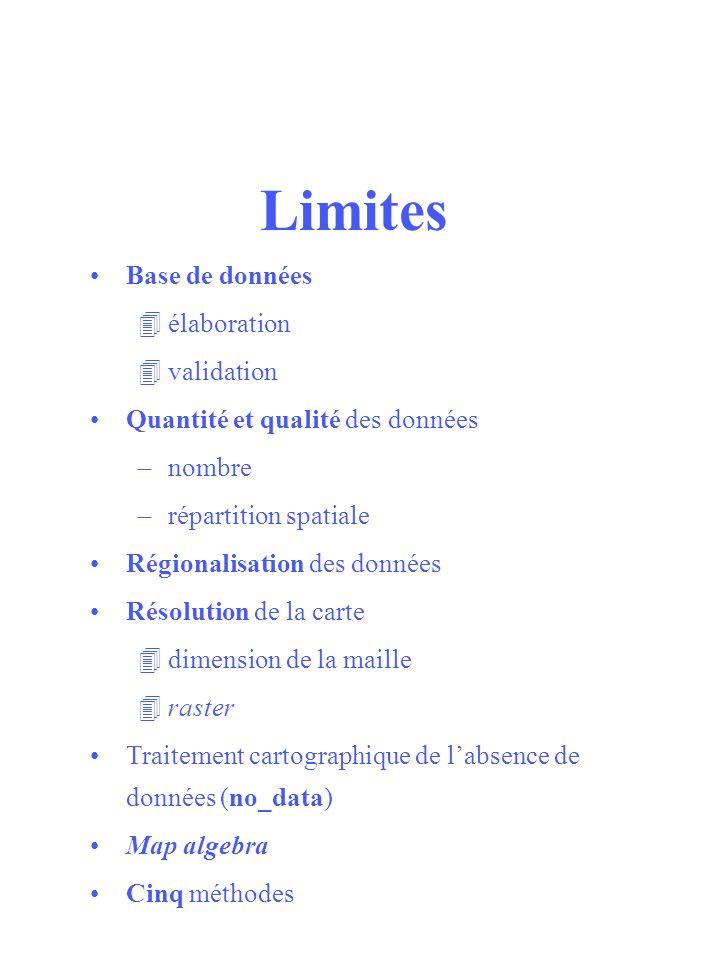 Limites Base de données 4élaboration 4validation Quantité et qualité des données –nombre –répartition spatiale Régionalisation des données Résolution