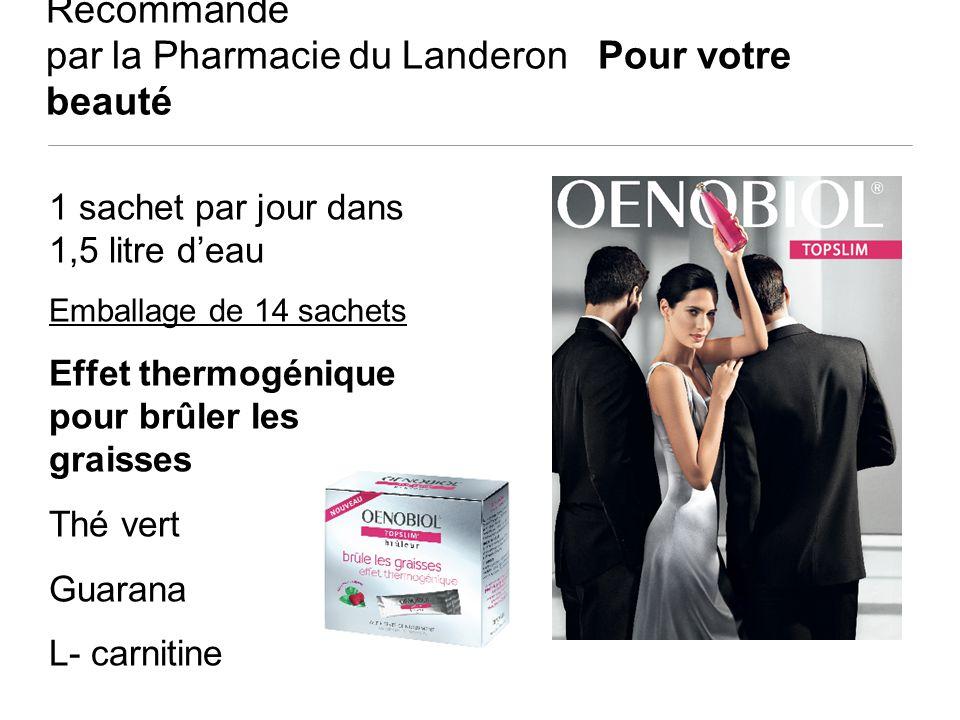 Recommandé par la Pharmacie du Landeron Pour votre beauté 1 sachet par jour dans 1,5 litre deau Emballage de 14 sachets Effet thermogénique pour brûle