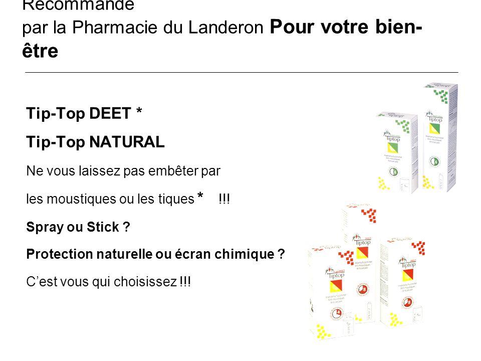 Recommandé par la Pharmacie du Landeron Pour votre bien- être Tip-Top DEET * Tip-Top NATURAL Ne vous laissez pas embêter par les moustiques ou les tiq