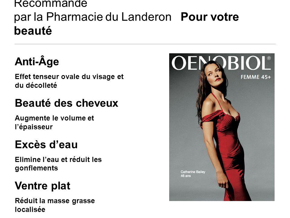 Recommandé par la Pharmacie du Landeron Pour votre beauté Anti-Âge Effet tenseur ovale du visage et du décolleté Beauté des cheveux Augmente le volume