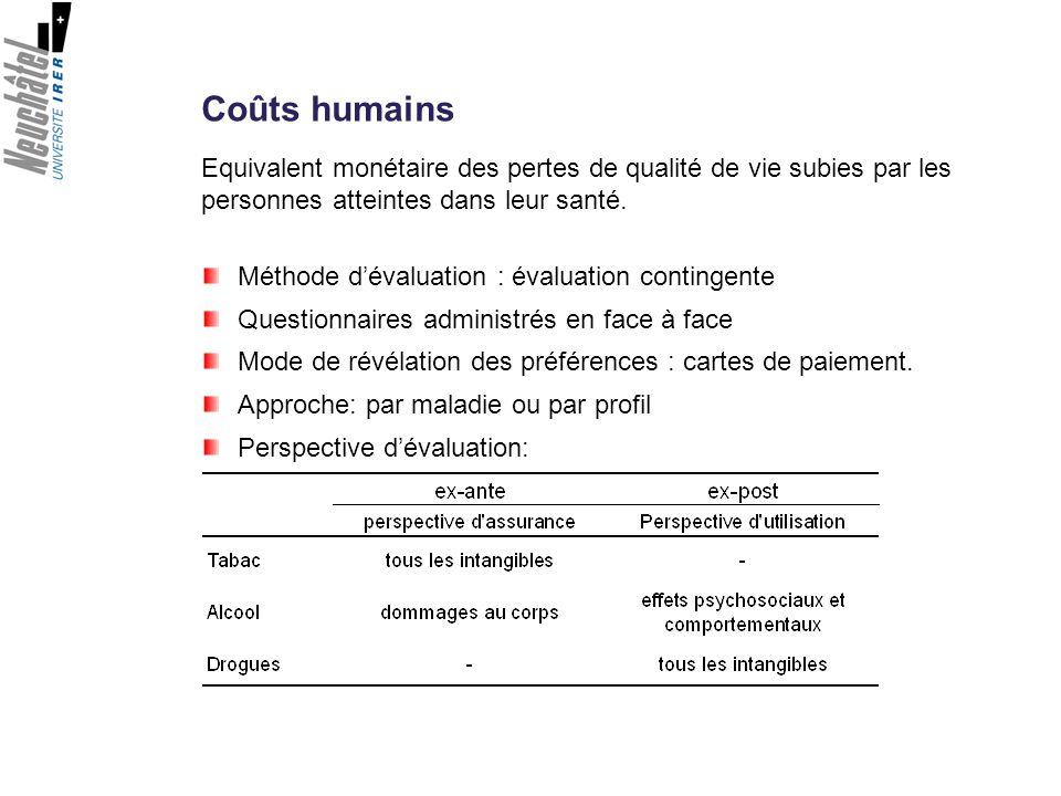 Coûts humains Méthode dévaluation : évaluation contingente Questionnaires administrés en face à face Mode de révélation des préférences : cartes de pa