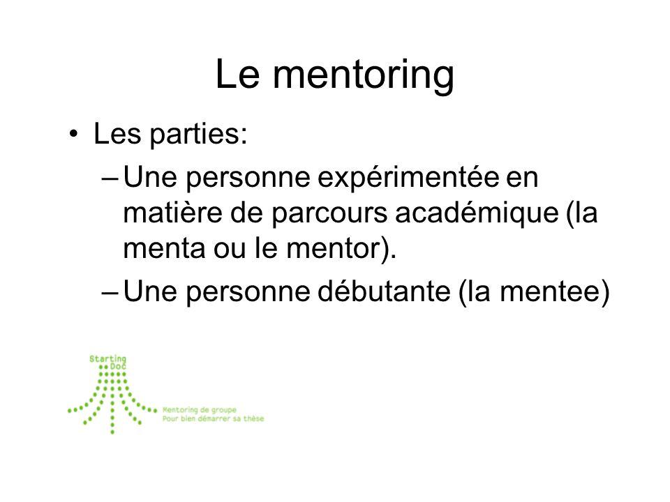 Le mentoring Les parties: –Une personne expérimentée en matière de parcours académique (la menta ou le mentor).