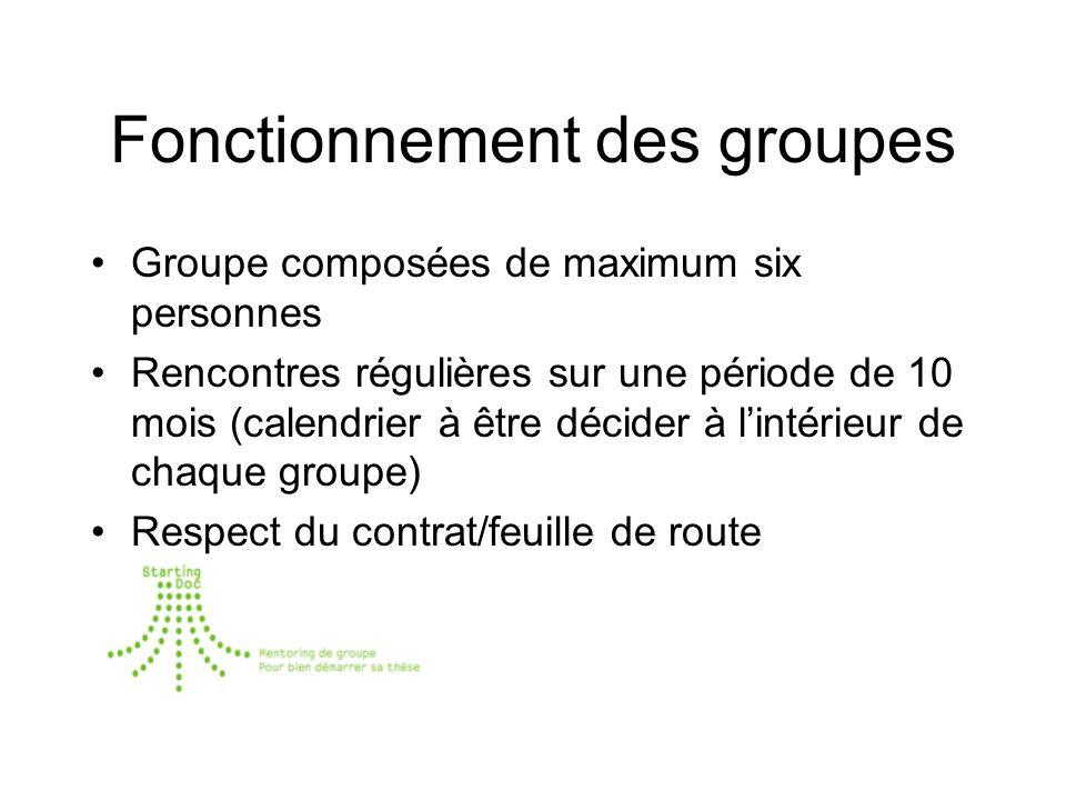 Fonctionnement des groupes Groupe composées de maximum six personnes Rencontres régulières sur une période de 10 mois (calendrier à être décider à lintérieur de chaque groupe) Respect du contrat/feuille de route