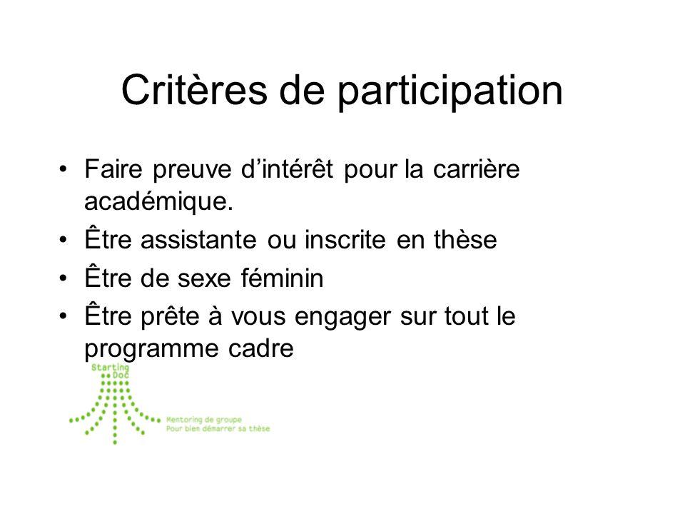 Critères de participation Faire preuve dintérêt pour la carrière académique.