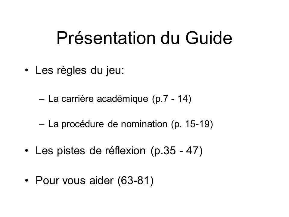 Présentation du Guide Les règles du jeu: –La carrière académique (p.7 - 14) –La procédure de nomination (p.
