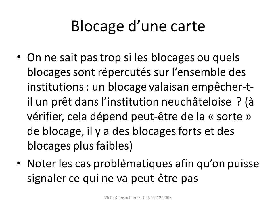 Blocage dune carte On ne sait pas trop si les blocages ou quels blocages sont répercutés sur lensemble des institutions : un blocage valaisan empêcher