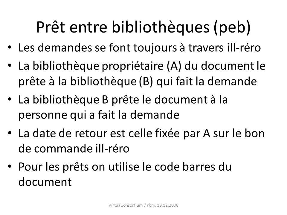 Prêt entre bibliothèques (peb) Les demandes se font toujours à travers ill-réro La bibliothèque propriétaire (A) du document le prête à la bibliothèqu