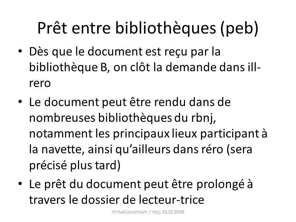 Prêt entre bibliothèques (peb) Dès que le document est reçu par la bibliothèque B, on clôt la demande dans ill- rero Le document peut être rendu dans