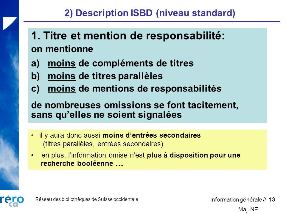 Réseau des bibliothèques de Suisse occidentale Information générale // 13 2) Description ISBD (niveau standard) 1. Titre et mention de responsabilité: