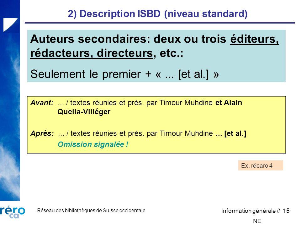 Réseau des bibliothèques de Suisse occidentale Information générale // 15 2) Description ISBD (niveau standard) Avant:...