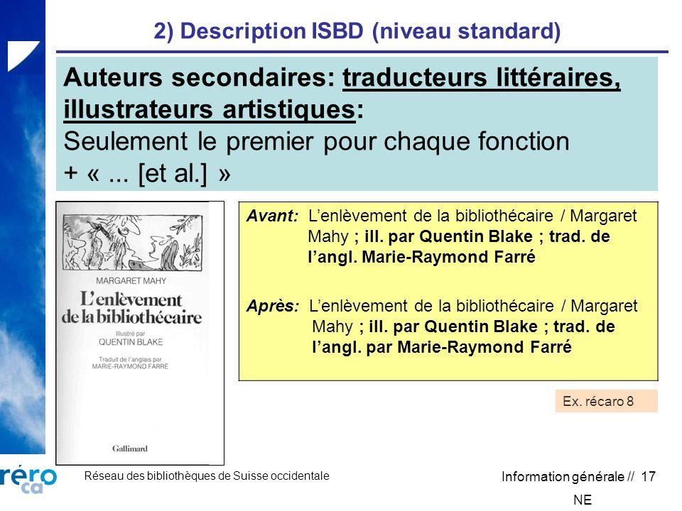 Réseau des bibliothèques de Suisse occidentale Information générale // 17 2) Description ISBD (niveau standard) Avant: Lenlèvement de la bibliothécaire / Margaret Mahy ; ill.