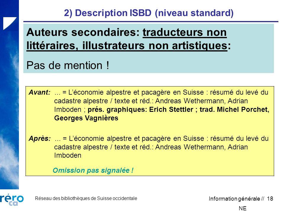 Réseau des bibliothèques de Suisse occidentale Information générale // 18 2) Description ISBD (niveau standard) Avant:...