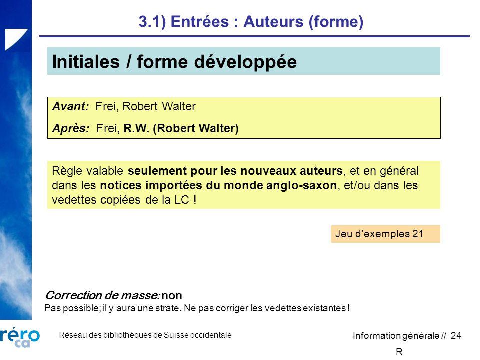 Réseau des bibliothèques de Suisse occidentale Information générale // 24 3.1) Entrées : Auteurs (forme) Initiales / forme développée Avant: Frei, Robert Walter Après: Frei, R.W.