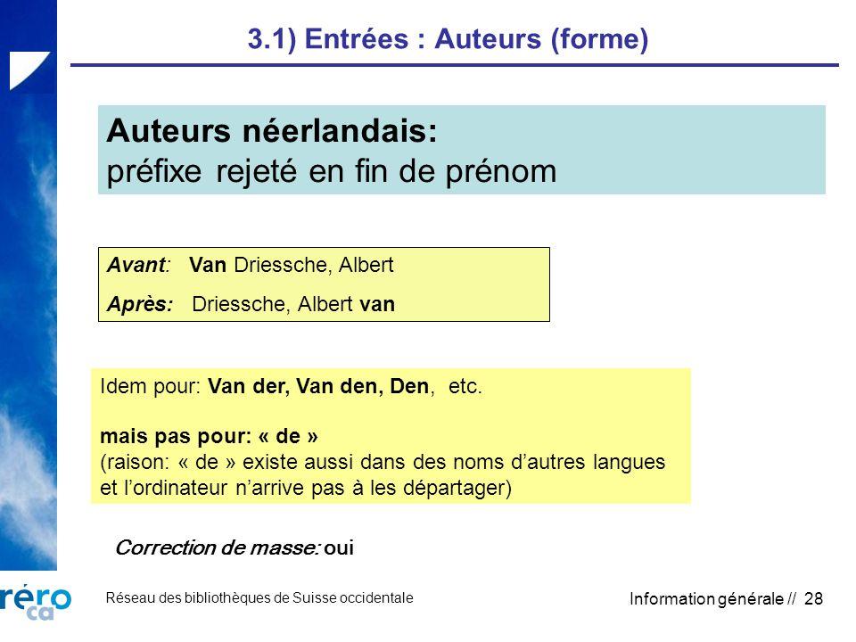 Réseau des bibliothèques de Suisse occidentale Information générale // 28 3.1) Entrées : Auteurs (forme) Auteurs néerlandais: préfixe rejeté en fin de