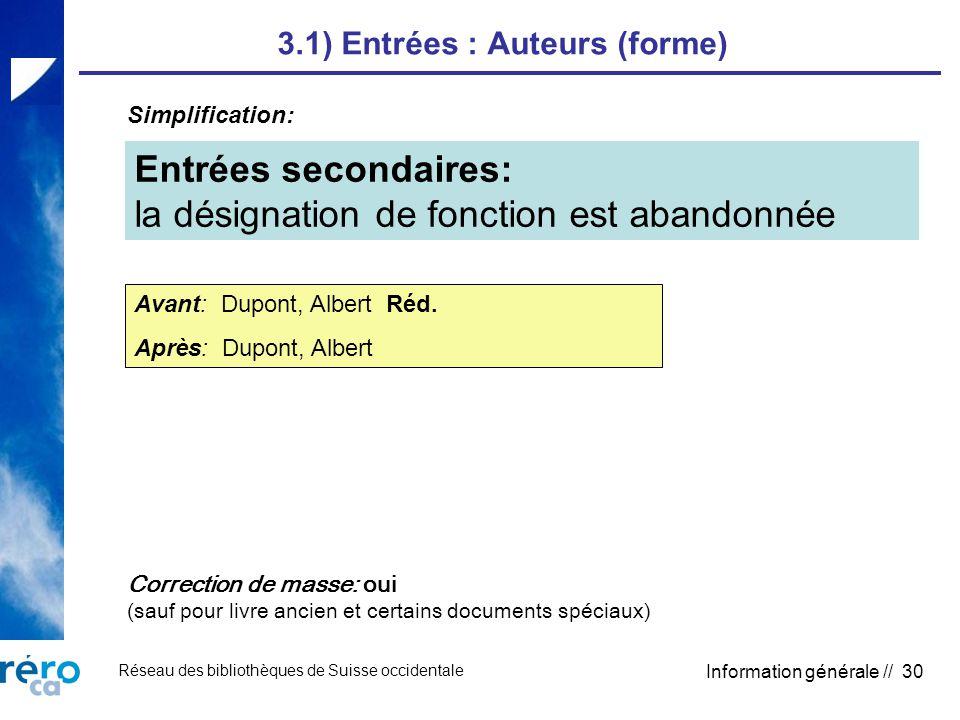 Réseau des bibliothèques de Suisse occidentale Information générale // 30 3.1) Entrées : Auteurs (forme) Entrées secondaires: la désignation de fonction est abandonnée Avant: Dupont, Albert Réd.